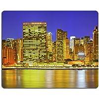 Liili Mouse Pad in gomma naturale mousepad immagine ID 33683366New York City USA Downtown Edifici in Manhattan con luci colorate Panorama al tramonto