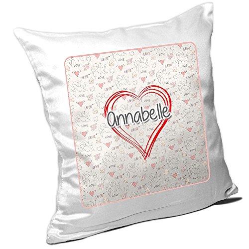 Kissen mit Namen Annabelle und schönem Herz mit vielen Liebes-Symbolen zum Valentinstag - Namenskissen - Kuschelkissen - Schmusekissen -