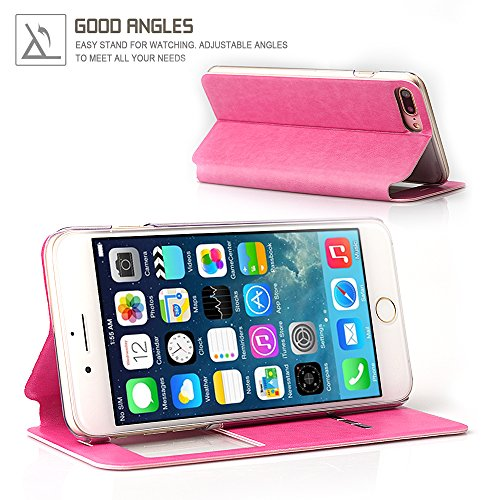 Apple iPhone 7 Hülle, Feitenn PU Leder Schutzhülle Ledertasche Mit Window View Auto Schlaf Aufwachen Standfunktion Magnetverschluss Handyschutz Book Style Case Für iPhone 7 Rosegold Pink