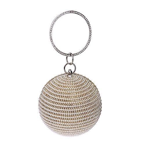 veiai 2016donna rotonda frizione borsa per sera lusso perla Bridal Bags Crossbody Borsa Borse per Lady, Gold (oro) - BA8003 Gold