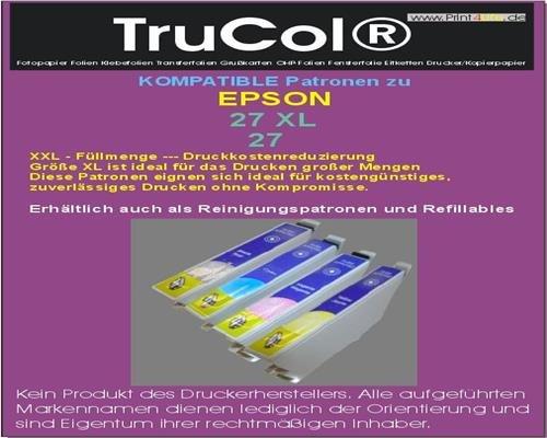 4 Kompatible Reinigungspatronen ( 1 Set – Alle Farben ) zu Epson 27 Schwarz Cyan Magenta Yellow Patronen mit Reinigungsflüssigkeit mit Hoher Kapazität schwarz : 17,7ml ; Farben : 10,4ml kompatibel zu Workforce WF-7600 Series WF-3620 WF WF-3640 Dtwf WF-7610 DWF WF-7110 DTW WF-3620 DWF WF-3600 Series WF-7620 Dtwf (Serie Tinte Cyan)
