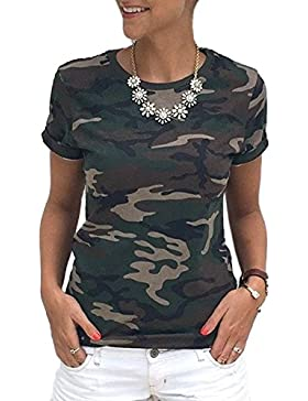 Simple-Fashion Mujer Verano Casual Flojo Camuflaje Largo Camisetas Remata Blusa Moda Cuello Redondo Manga Corta...