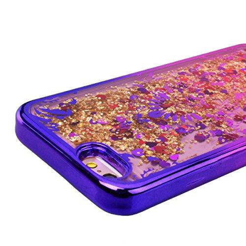 GrandEver Coque iPhone 6S Plus / iPhone 6 Plus 3D Liquide Silicone Transparente { Or } Paillettes Souple Flexible Etui Glitter Sable Étoiles Rigide Back Cover Case Anti-Choc Anti Rayures Housse pour i Fleur