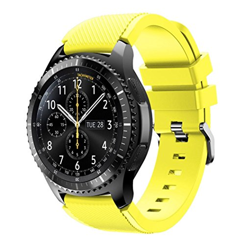 Watch Band per Samsung Gear S3 Frontier, Ihee morbido silicone sostituzione sport strap Wristband for Samsung Gear S3 Frontier, Yellow, 21.6 x 2 x 0.3 cm