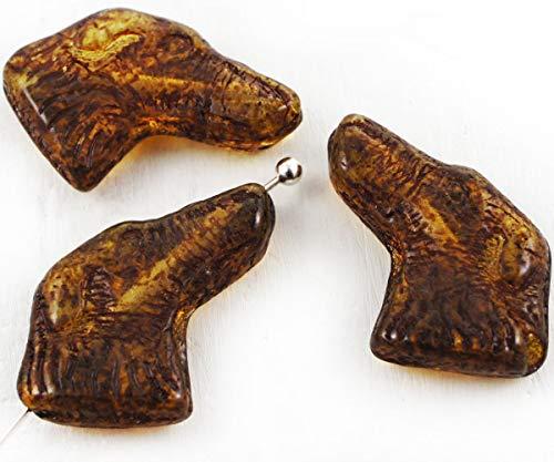 6pcs Picasso Crystal Brown Yellow Dog Pet Head Tier, Tschechische Glas-Perlen 13mm x 20mm