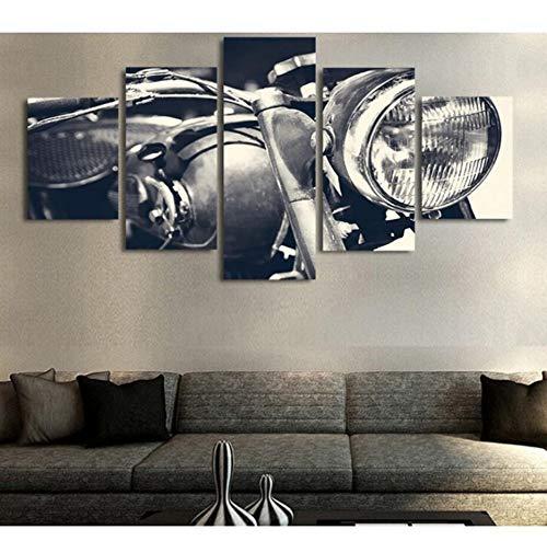 Wiwhy Modulare Bild Wandkunst Hd Drucke 5 Stücke Motorrad Leinwand Nacht Hintergrund Malerei Dekoration Cuadros Kunstwerk Poster-20X35/45/55Cm