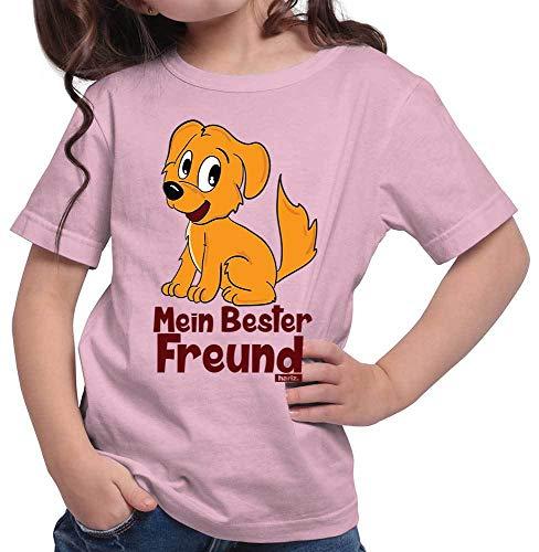 Kostüm Dschungel Themen Kinder - HARIZ Mädchen T-Shirt Mein Bester Freund Hund Süß Tiere Dschungel Plus Geschenkkarten Rosa 128/7-8 Jahre