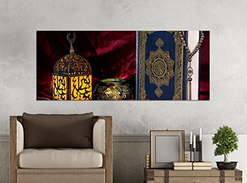 Leinwandbilder 1Tlg 100x40cm Türkei Koran Buch rot türkisch Islam arabische Schrift Leinwandbild Kunstdruck Wand Bilder Vlies Wandbild Leinwand Bild Druck 9Z1508, Leinwandbild Größe:100x40cm