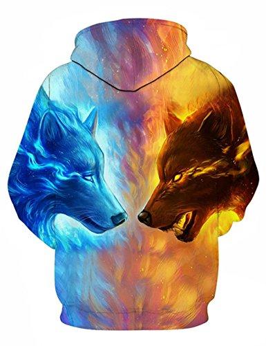 Herren 3D Druck Hoodie, SummerRio Kapuzenpullover Sweatshirt 3D Aufdruck Unsiex Wolf/Schädel Langarm mit Kapuze Tasche S-3XL Wolf