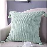 chongyixian quanping Komfortabler Quasten-Strick-Kissenbezug, Superweich, warm, Kissen, Wassergrün, 45 x 45 cm