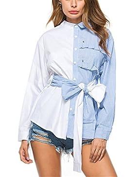 Camisa a Rayas de Media Solapa Mujeres Tops de Moda Damas de Otoño Blusa Baja de Manga Larga Casual Bowknot