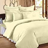 #8: 300 TC Duvet Cover - Double Size - Premium Cotton - Striped Duvet / Quilt / Comforter cover with zipper by Ahmedabad Cotton - 90 x 100 inches - Ivory