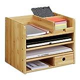 Relaxdays Schreibtisch Organizer, Briefablage A4, Notizzettel und Stifte ordnen, Schublade, Ordnungssystem Büro, Bambus