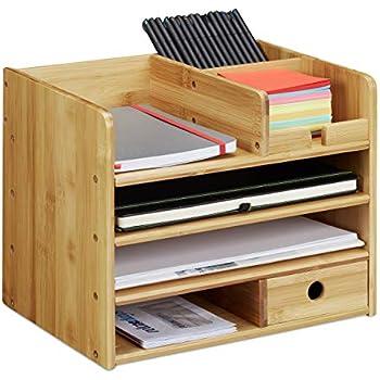 Relaxdays Schreibtisch Organizer Briefablage A4 Notizzettel Und