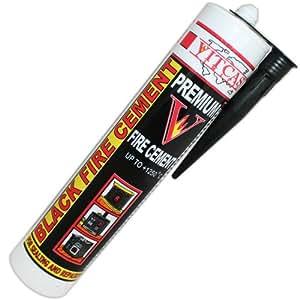VITCAS Ciment réfractaire résistant à la chaleur Noir 300 ml