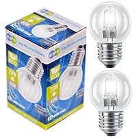 Long Life Lamp Company Halogen-Energiesparlampen, klein, Golfballform, 10er-Pack, glas, warmweiß, 40 W, E27 (Edison Screw) 28 watts