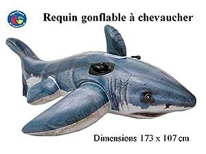 Requin gonflable. Bouée à chevaucher avec poignées. Livraison gratuite