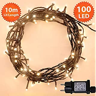 Weihnachts-Lichterketten 100 LED warme weiße Baum-Lichter Innen- und im Freiengebrauch Weihnachtsschnur-Lichter Netzbetriebene feenhafte Lichter 10m/33ft Lit-Länge Grünes Kabel - 2 Jahre Garantie