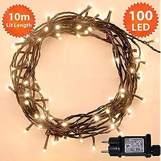 Luces de hadas de Navidad 200 LED cálido blanco árbol de interior y al aire libre uso de cadena de Navidad con función de memoria, hadas alimentadas de red 20m iluminado longitud cable verde