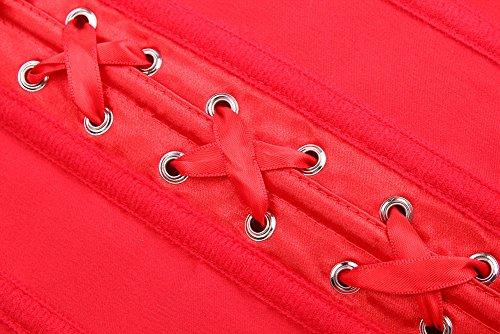 PULABO Sexy Damen korsett Vergröße mit Schnüren Überbrust + G-String Kosage Rot