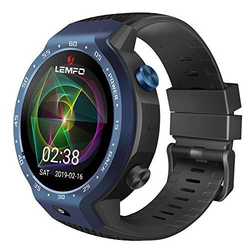 QKa Smart Watch Phone 4G LTE Dual Systeme, 1GB + 16GB Android 7.1.1.600Mah Batterie Pulsmesser, Schrittzähler, GPS Smartwatch Armband für Männer Frauen,Blue (4g T-mobile-smart-phones)