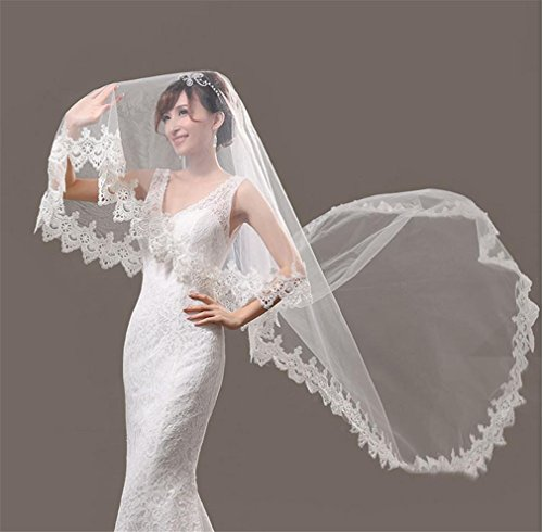 Happymood velo da sposa 2.6m * 1.4m veli da sposa da cappella da donna, accessori da sposa con cute edge , single