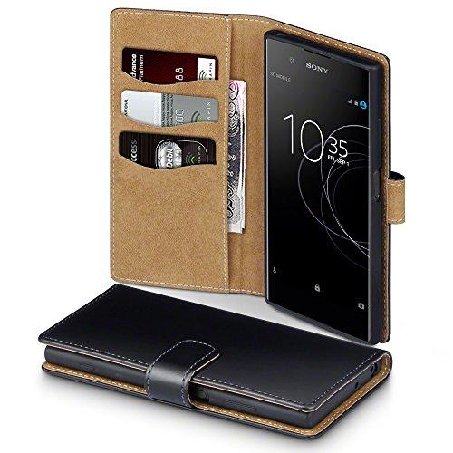 Terrapin, Kompatibel mit Sony Xperia XA1 Plus Hülle, Handy Leder Brieftasche Case Tasche mit Standfunktion Kartenfächer - Schwarz mit Hellbraun Interior