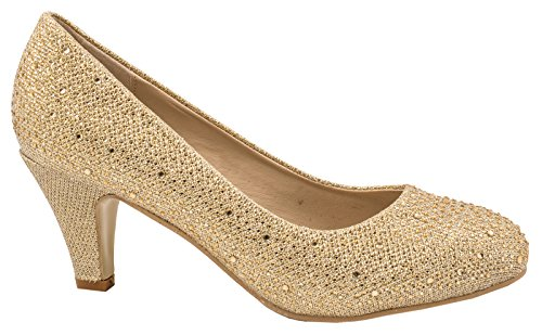 Elara Damen Pumps | Bequeme Strass High Heels | Hochzeits Glitzer Stiletto Gold Paris