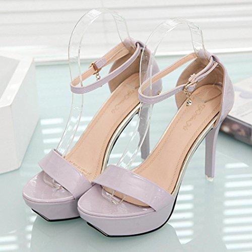 Hunpta Frauen Sandalen Open Toe High Heels Sandalen Frauen Ankle Strap Sommerschuhe Lila