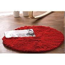 Hangnuo - Alfombra redonda antideslizante para salón o dormitorio, Rojo, Diameter: 47.2inch/120cm
