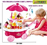 #9: TOY-STATION - PRETEND PLAY SET (Ice Cream Kitchen Play Cart Kitchen Set Toy With Lights)