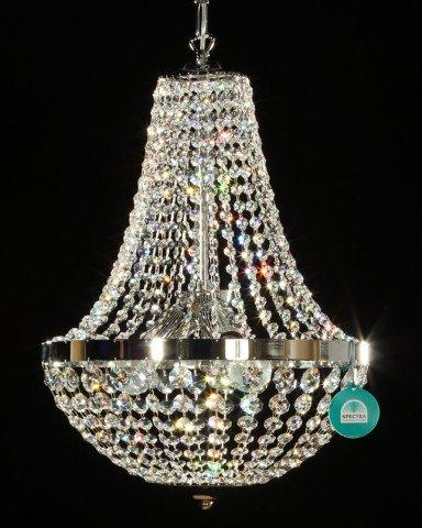Lampada a sospensione 'Marlina' con cristalli Swarovski. Oro/ Argento.
