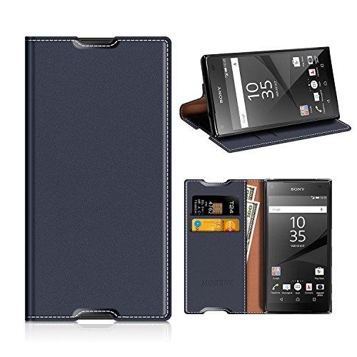MOBESV Sony Xperia Z5 Compact Hülle Leder, Sony Xperia Z5 Compact Tasche Lederhülle/Wallet Case/Ledertasche Handyhülle/Schutzhülle mit Kartenfach für Sony Xperia Z5 Compact - Dunkel Blau
