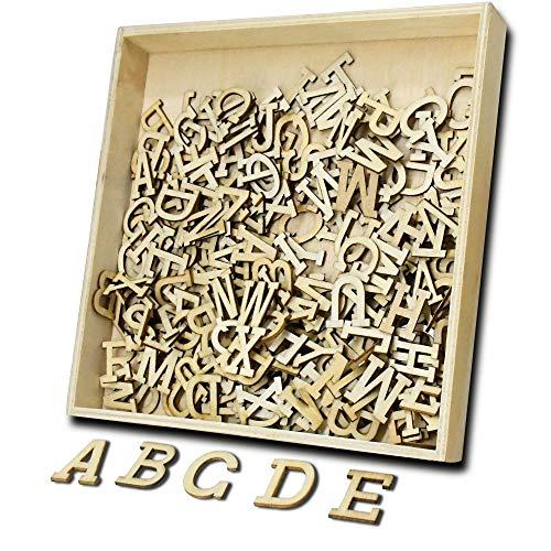 (260 Stück Holz Alphabet Scrabble Buchstaben für Vorschule Kinder Bildung & Kreuzworträtsel Scrabble ABC-XYZ für DIY Handwerk Dekoration Original Holzfarbe)