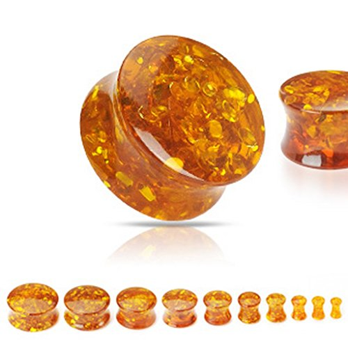 Piercing plug ambre Taille 19 mm