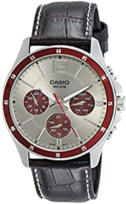 Casio Men's Grey Dial Leather Analog Watch - MTP-1374L-7A