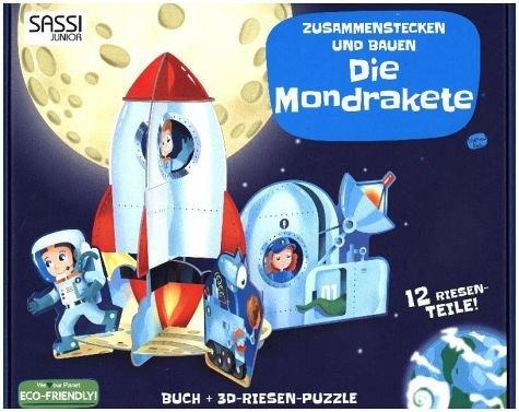 Sassi 3D Puzzle Mondrakete. Beidseitig beschriftete Riesen-Puzzleteile plus Buch zum (Kinder Raumanzüge)