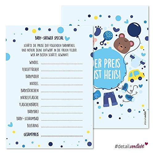 15 Spiel-Karten zur Baby-Party I dv_161 I DIN A6 I Set Baby-Party blau Junge Boy Invitations Spiele Quiz Preise schätzen