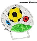 Unbekannt Fußball - Stabiler + Leichter - Liegestuhl / Campingstuhl / Klappstuhl - aus Metall mit Stoff bezogen - für Circa 1 - 5 Jahre - Faltsessel - faltbar zusammenk..
