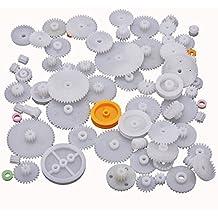 64 Clases Engranajes de Gusano Eje Plástico Monocapa Doble Corona M0.5 Robot DIY