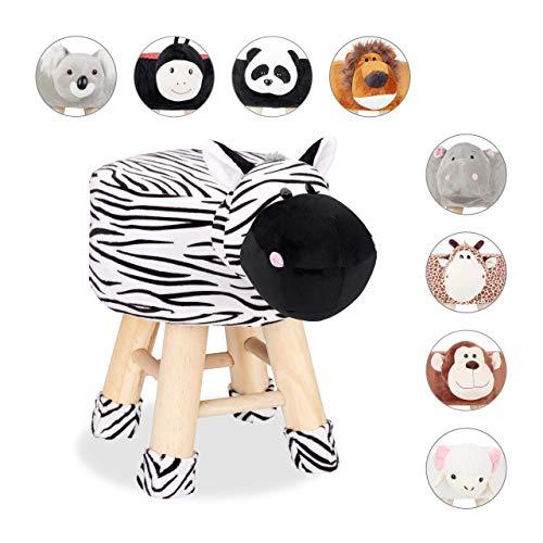 Relaxdays Tierhocker Zebra, Dekohocker Kinder, Abnehmbarer Bezug, Holzbeine, gepolstert, Kinderhocker Tiere, schwarz-weiß, HBT: 45 x 34,5 x 28 cm