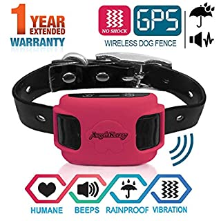 AngelaKerry GPS Outdoor Pet Containment System, Rechargeable Waterproof Beep Vibration Receiver, 20-800 Meters Control, for 15lbs-120lbs Dogs (Rose Red)