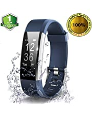 OMNiX ID115 HR Smart Wristband Heart Rate Monitor with 0. 96 Inch OLED Display 4. 0 Waterproof Android 4. 4 (Blue)