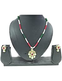 Indian Mores Kundan Red Green Stone Studded Pendant Earring Set For Girls & Women