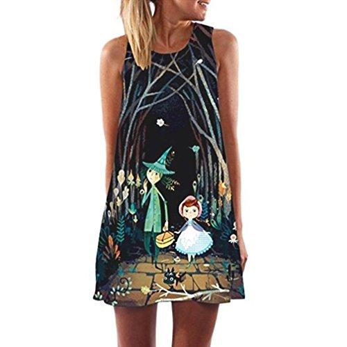 Jaminy Damen Strandkleid Kleidung Strand Hemdkleid O-Ausschnitt Rock,Vintage Boho Frauen Lose Sommer Ärmellos 3D Blumendruck Bohe Tank von (Schwarz, L) (Extra Große 80 Jahre Kostüme)
