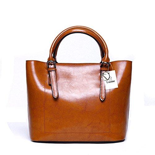 Yoome Designer Borsa a tracolla in vera pelle Borsa a mano in vacchetta Borsa a tracolla valigetta - Marrone Marrone