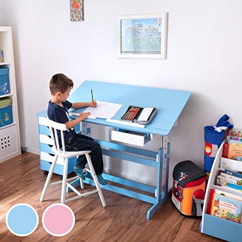 *TecTake Bureau enfant hauteur réglable plateau de table inclinable 109 x 55 cm en bois – diverses couleurs au choix – (Bleu | No. 400927) Liste de prix