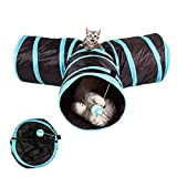 Akemiao Cat Tunnel 3 Way Collapsible Kitten Tube Pet Toys Length 80CM