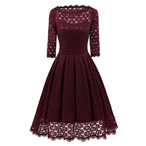 Ihr Rotes Kleid (Kleider damen Kolylong® Frauen Elegant Spitze Langarm Kleid Vintage Swing Kleid Knielang Retro Rockabilly Kleid Cocktails Party Kleid Abendkleid Kleid der Brautjungfer (Rot, S))