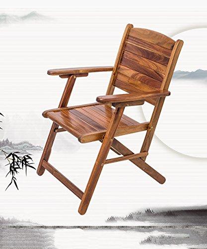 ZEMIN Chaise en Bois Massif en Teck Foldable Back Chair Fauteuil Etude Salon, Marron (Size : 57 * 64 * 87CM)